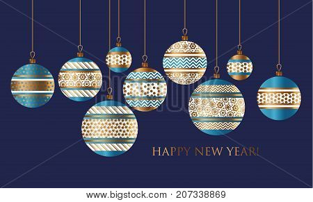 Blue and gold Christmas bauble decor stylized vector pattern for card, invitation, greetingn. Small Xmas tree decoration balls with ornament illustration on black background