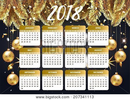 2018 Happy new year design wallpaper with calendar planner. Gold and pink color with Christmas tree celebrate background with golden balls, confetti and stars. Vector stock illustration for January