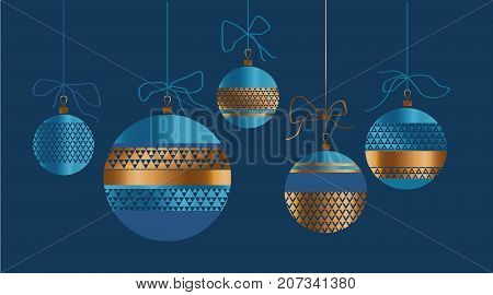 Xmas glass balls set in red and gold colors. Christmas ornamented bauble vector illustration.  New year tree traditional decoration.