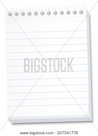 Notepad for memos, messages, notes, lists, dates, deadlines, reminders - lined blank high size tear off paper notebook with spiral binding - isolated vector illustration on white background.