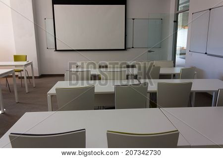 Training Empty Cabinet, Class For Students With A Board On The Wall .. White Tables, Walls And Green