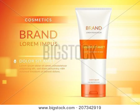 Hand cream ads 3d illustration cosmetic ads design with product template and orange background
