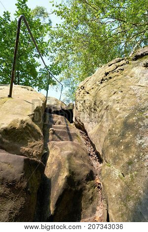 Hiking trail on the Devil's Wall between Timmenrode and Blankenburg in the Harz Mountains