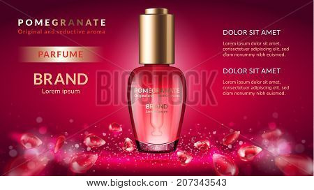 Pomegranate perfume ads attractive fruit ingredients with cosmetic package on a red background with flying fruit elements 3d illustration