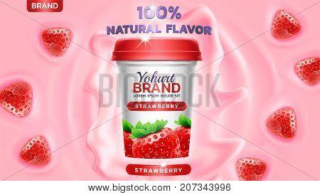 Strawberry flavor yogurt ad with yogurt splashing and waves and floating strawberry elements 3d illustration