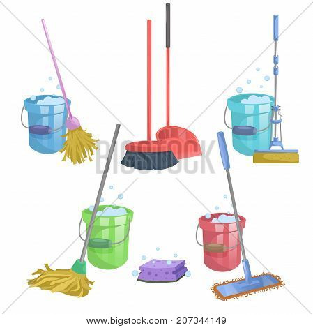 Cartoon house and apartment cleaning service icon set. Mops with bucket with washing liquid. Modern plastic dry mop old mop squeeze mop dustpan dust brush.