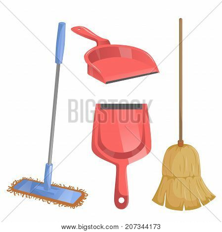 Cartoon trendy cleaning service icons set. Natural broom and different dustpans modern plastic mop.