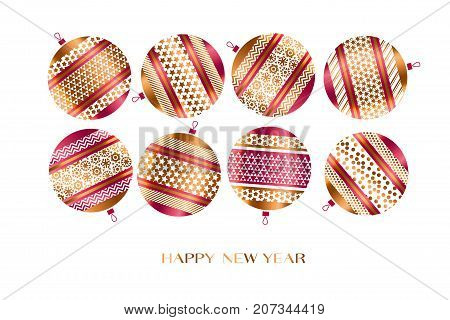 Xmas ornamented bauble vector illustration.  New year tree traditional decoration. Christmas glass balls set in red and gold colors for invitation, greetings card.