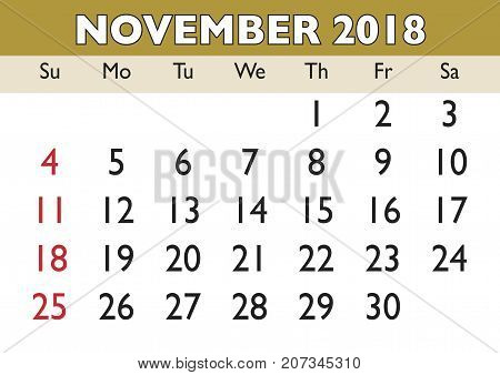 november month calendar 2018