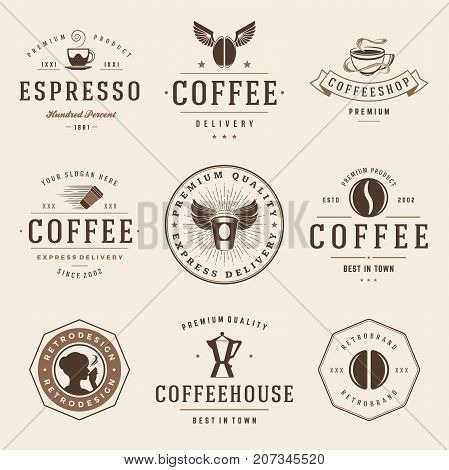 Coffee Shop Logos Templates Set. Bean Silhouette Isolated On Background. Vector object for Labels, Badges, Logos Design. Coffee Logo, Bean Logo, Coffee Bean Symbol, Retro Logo, Bean Icon
