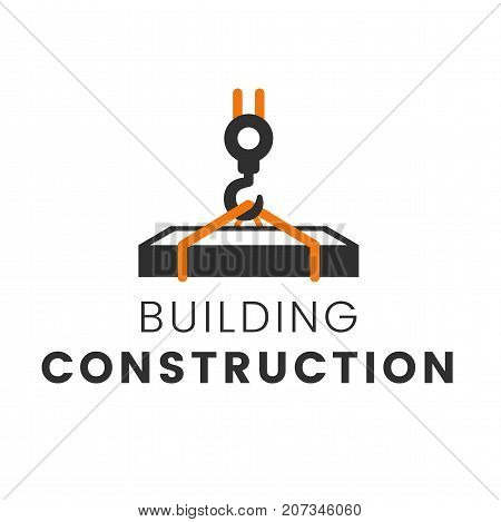 Building construction with crane logo template vector illustration. Reconstruction web page.