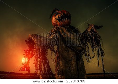 Portrait of a scary Jack-lantern with a pumpkin on his head. Halloween legend. poster