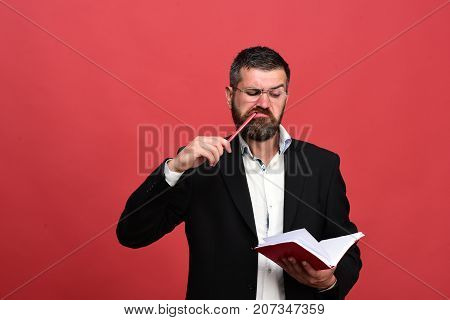 Businessman With Serious And Concentrated Face And Glasses