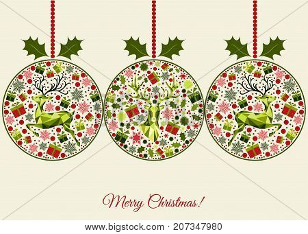 Christmas Greeting  Card With Patterned Xmas Balls.