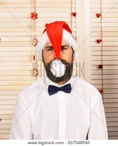 Santa Claus In Hat With Calm Face. Man With Beard