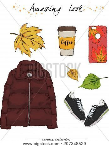 A Set Of Autumn Outfit With Accessories. Down Jacket, Sneakers, Phone Case And Fragrant Coffee. Autu