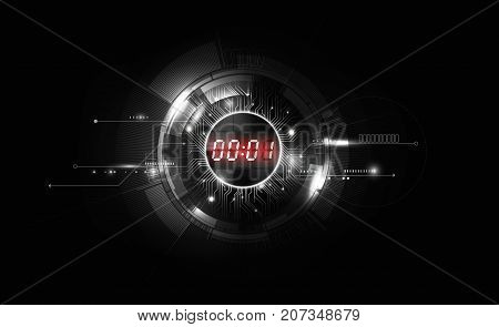 Black White Abstract Futuristic Technology Background with Red Digital number timer concept and countdown, vector transparent