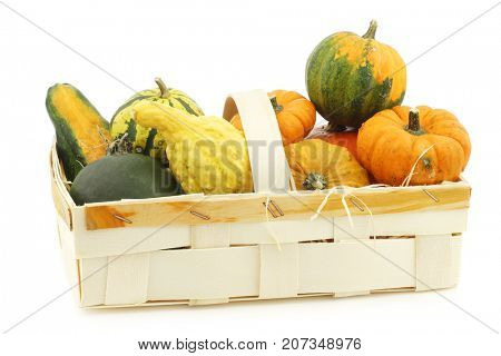 colorful decorative pumpkins and straw in a woven basket on a white background