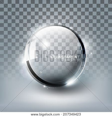 Modern Shiny Transparent glass sphere with shadow on white background, vector illustration