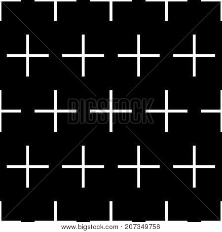 Tile cross plus black and white vector pattern