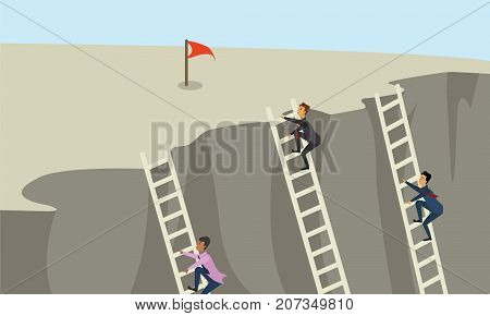 Three business people climbing the corporate ladder for red flag. Success, innovation and advantage in business concept illustration vector.