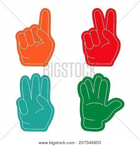 Hand gestures flat design long shadow. Foam fingers colorful icon set. Fan sports paraphernalia item- vector