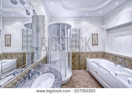 Russia Moscow Modern interior bathroom design urban real estate.