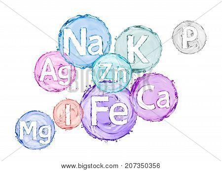Group of chemical minerals and microelements. (Argentum Ferrum KaliumCalcium Natrium MagnesiumPhosphorusIodumZincum)