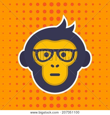 ape, monkey with glasses vector sticker, print, eps 10 file, easy to edit