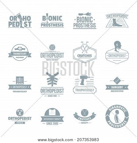 Orthopedics logo icons set. Simple illustration of 16 orthopedics logo vector icons for web