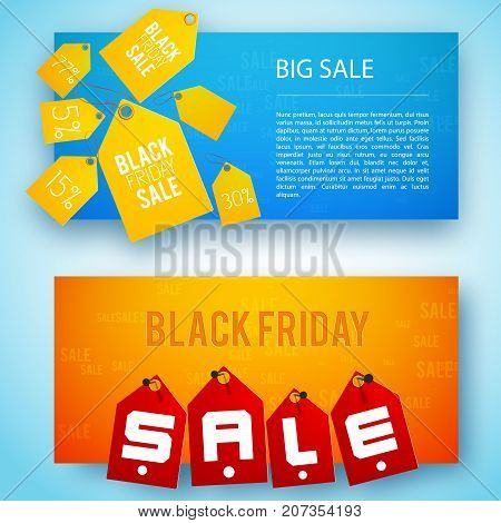 Two horizontal sale tags banner set with big sale and black friay descriptions vector illustration