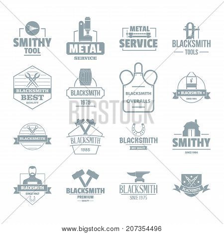 Blacksmith metal logo icons set. Simple illustration of 16 blacksmith metal logo vector icons for web