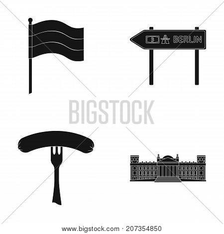 Flag, symbol, Germany, and other  icon in black style. National, attributes, restaurant icons in set collection