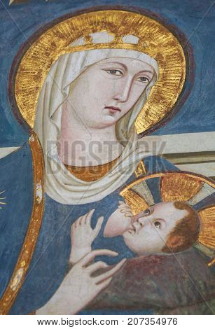 Fresco In San Gimignano, Italy - Madonna And Child
