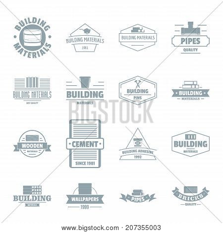 Building materials logo icons set. Simple illustration of 16 building materials logo vector icons for web