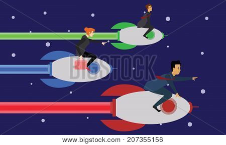 Young business people flying to office on electric jets. Futuristic hi-tech modern corporate concept illustration vector.