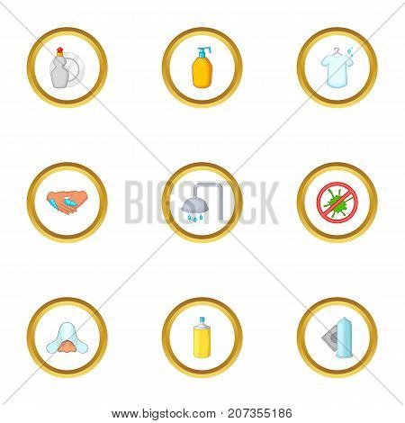 Clean up things icons set. Cartoon style set of 9 clean up things vector icons for web design
