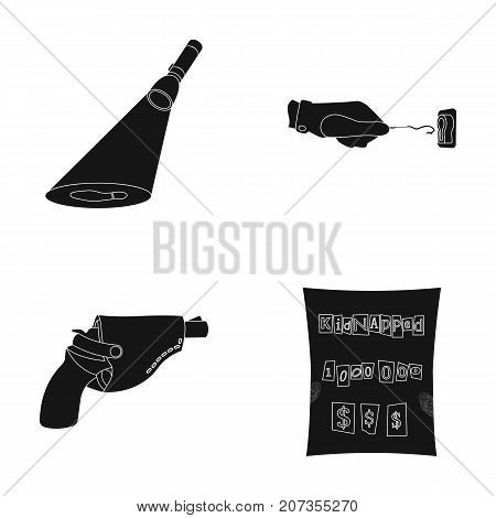 The detective's flashlight illuminates the footprint, the criminal's hand with the master key, a pistol in the holster, the kidnapper's claim. Crime and detective set collection icons in black style vector symbol stock illustration .