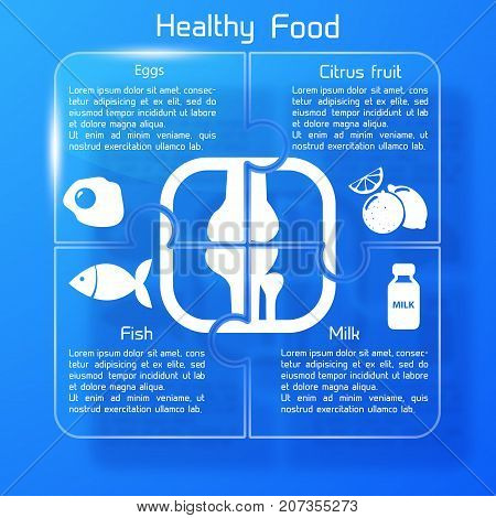 Healthy food infographics with products icons useful for human bones on blue background vector illustration