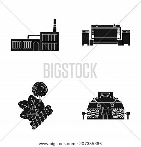 Factory, enterprise, buildings and other  icon in black style. Textile, industry, fabric icons in set collection.
