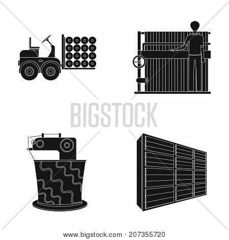 Equipment, machine, forklift and other  icon in black style.Textiles, industry, tissue, icons in set collection