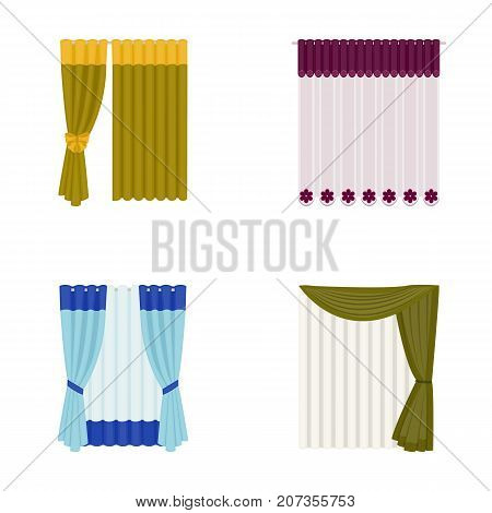 Curtains, drapes, garters, and other  icon in cartoon style. Textiles, furniture, bow icons in set collection
