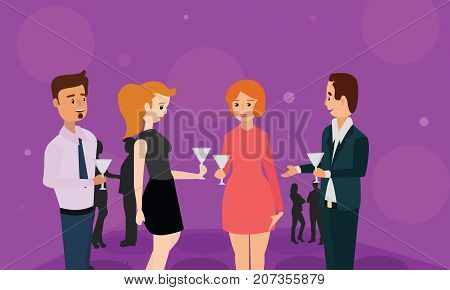 Cheers toast of company partners at meeting celebrate cooperation. Diverse business people meeting eating discussion cuisine party concept illustration vector.
