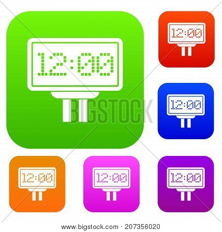 Scoreboard set icon color in flat style isolated on white. Collection sings vector illustration