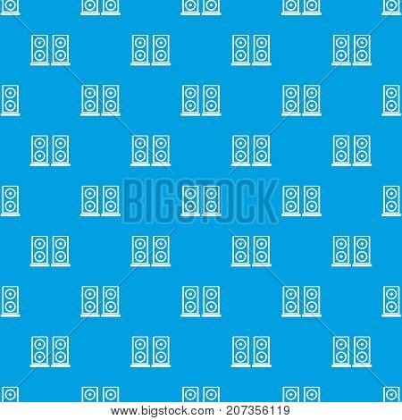 Music speakers pattern repeat seamless in blue color for any design. Vector geometric illustration