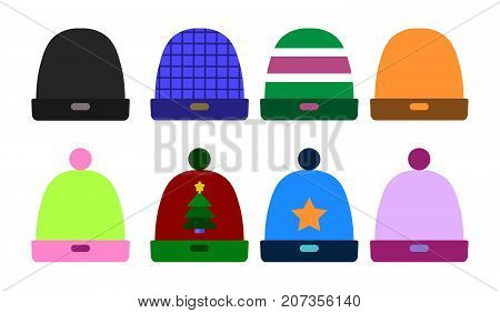 Knitted Color Hat Winter Set Fashion Accessory. sport ski snowboarding cap Flat design Vector Illustration
