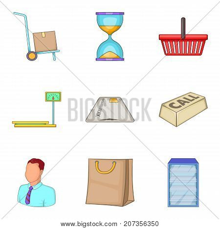 Replacement icons set. Cartoon set of 9 replacement vector icons for web isolated on white background