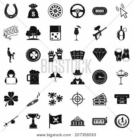 Chance icons set. Simple style of 36 chance vector icons for web isolated on white background