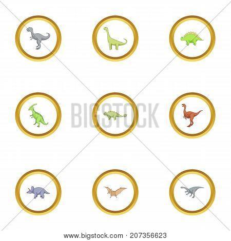 Wild dinosaur icons set. Cartoon style set of 9 wild dinosaur vector icons for web design