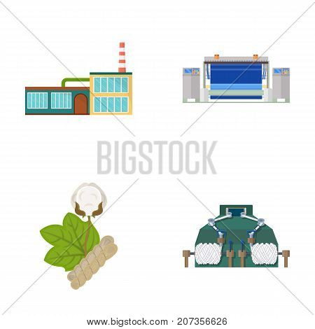Factory, enterprise, buildings and other  icon in cartoon style. Textile, industry, fabric icons in set collection.